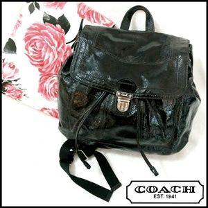 Coach Poppy Onyx Black Backpack Purse 17949